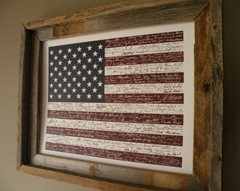Signatures of American History USA Flag Print - Unframed
