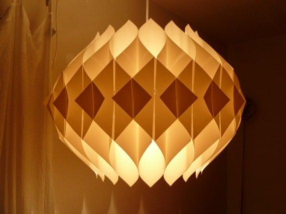Large Mid Century Modern Scandinavian Folded Plastic Pendant