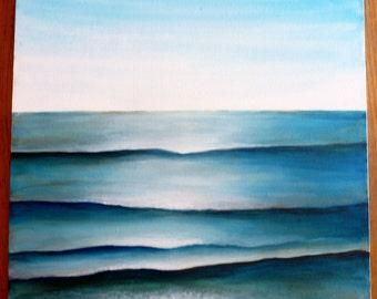 20 X 20 Pure Ocean Blue Seascape Simple Accent Canvas