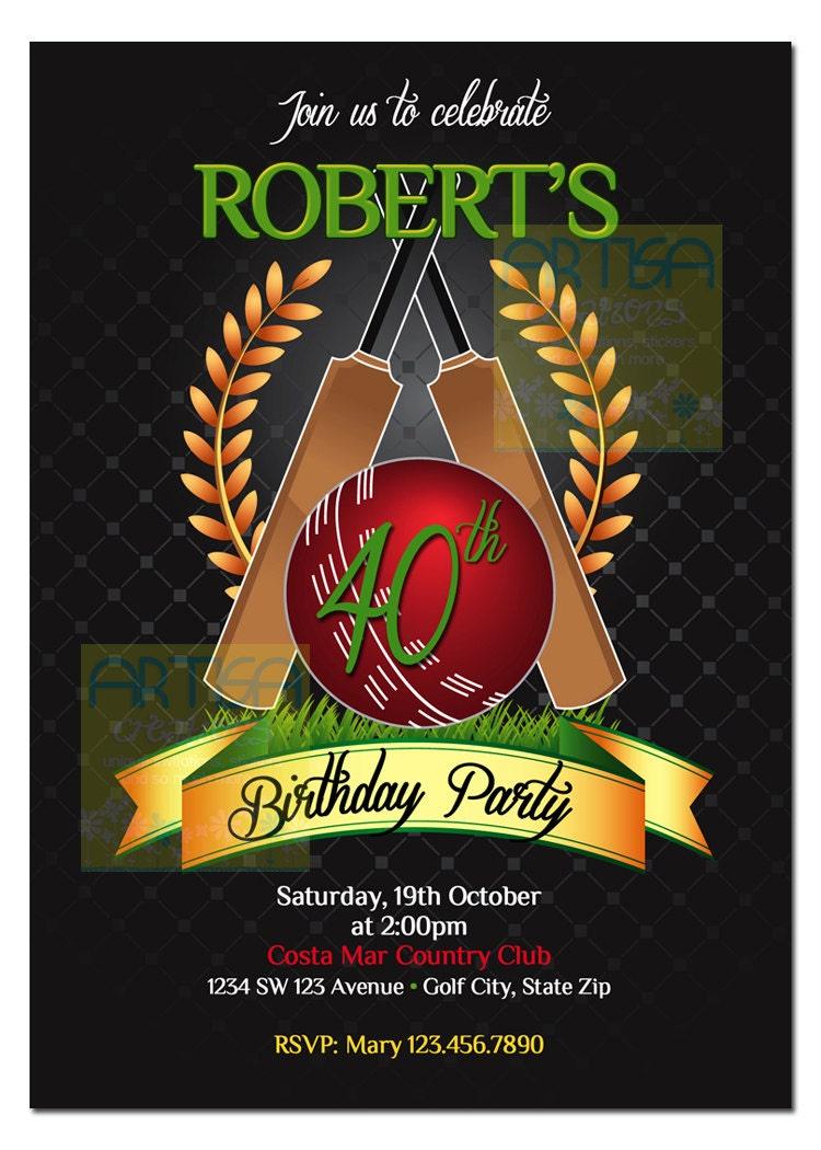 Cricket Invitation Printable File DIY Cricket Birthday