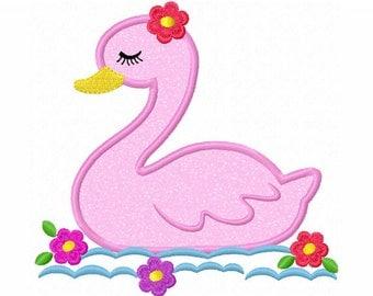 Instant Download Girl Swan Applique Machine Embroidery Design NO:1350