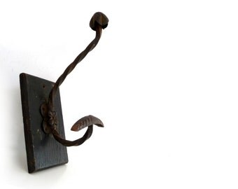 Vintage Coat Rack - Iron and Wood Coat and Hat Hanger - Sigle Shabby Chic Wall Hook - 1940s