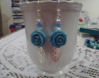 Turquoise Blue Rose Earrings