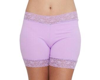 Lavender Biker Shorts Lace Trim Spandex Underwear