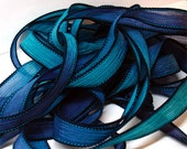"""Midnight  42"""" hand dyed wrist wrap bracelet silk ribbon//Yoga wrist wrap bracelet ribbons//Silk wrist wrap ribbon// By Color Kissed Silk"""