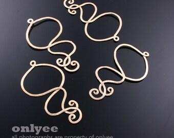 2pcs-43mmX27mmMatt Gold plated Brass hammered wire Charms,pendants(K563G)