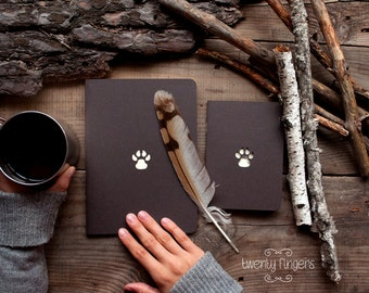 Forest notebook with a carved pattern - Paw- set of 2 notebook