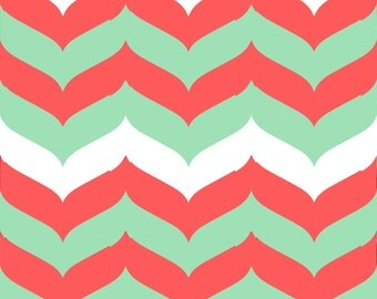 Chevron Wave Fabric by the Yard - Coral, Mint, and White