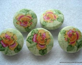 Handmade Fabric Buttons 19mm Green Floral Buttons Pack of 5 Green Fabric Buttons