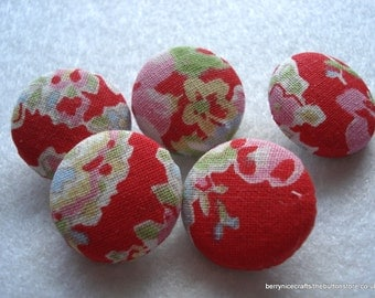 Handmade Fabric Buttons 19mm Cath Kidston Paisley Red Pack of 5 Red Buttons PK3