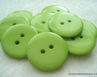 23mm Lime Green Resin Button Pack of 12 Large Green Buttons A107