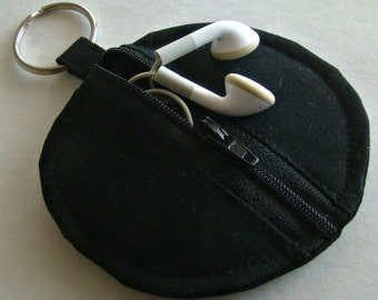 Black Earbud Pouch/HandmadeEarbudPouch/EarbudPouch/EarbudCase/EarbudOrganizer/EarbudHolder/Black/BlackEarbudHolder/BlackZipperPouch/BlackBag