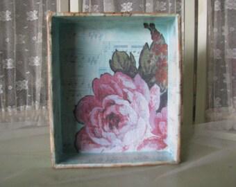 Altered Shadow Box Shabby Rose Home Decor