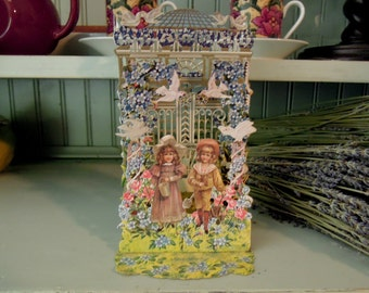 Vintage Pop-up Bithday Greetings Card / Cut out Card / Birthday Card / Die Cut / Victorian Style