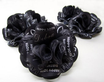 """Over the Hill Black Birthday Roses 30th 40th 50th 60th Birthday 4"""" Diameter Set of 6 Without Stems"""