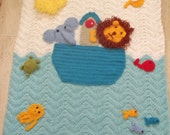 Noah,s Ark Crocheted Baby Blanket Or Baby Crib made to order
