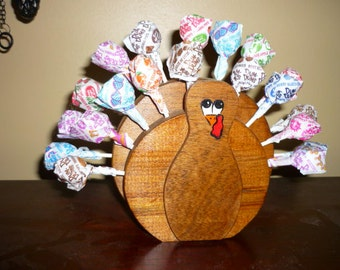 Rustic Recycled Wooden Turkey Lollypop Holder