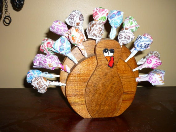 Rustic Wooden Turkey Lollypop Holder