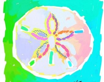Sand Dollar Print 16x20 Sand Dollar Art Painting Shell Aqua Lime by Kelly Tracht, Palm Beach Regency Item #1P