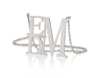 Monogram necklace - 1 inch Personalized Monogram - 925 Sterling silver