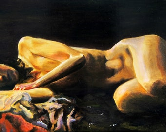 """Woman at Rest, oil on wood, 18"""" x 24"""""""