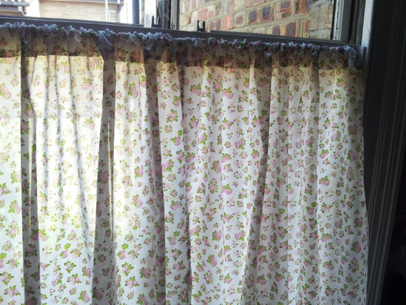Window Curtains Shabby Chic Short Curtains Rose Pattern