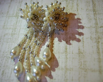 Glamourous Vintage Haute Couture Sparkling Beaded Bohemian Chandelier Earrings