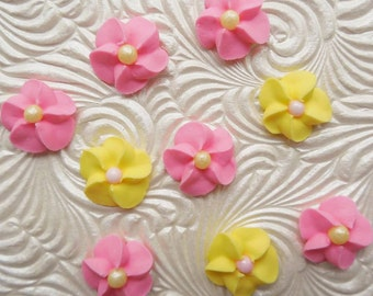 Pink & Yellow Royal Icing Flowers (100)