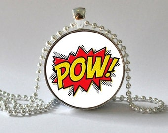 Pow Necklace. Comic Quote.Comic Book Pop Art Pendant. Superhero. Cominc art Jewelry. 071
