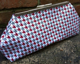Grey and Crimson Houndstooth Clutch