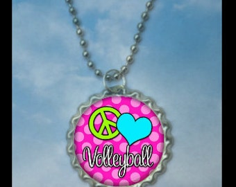 Set of 4 Peace Love Volleyball Bottlecap Necklaces,GLITTER or Plain, volleyball gifts, volleyball gift, volleyball necklace, team gift medal