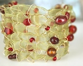 Cuff Bracelet Gold, Beaded Bracelets for Women, Wide Cuff, Red and Green Jewelry, Ribbon Jewelry