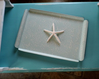 MAGICAL METALS...Upcycled, Updated Painted & Distressed Metal Tray, Cottage Chic Metal Tray, Beachy Metal Tray, Chic and Shabby Metal Tray