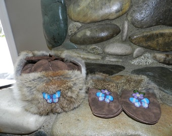 Leather fur hat with matching mittens