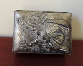 Vintage Silver Jewelry Box with Eagle
