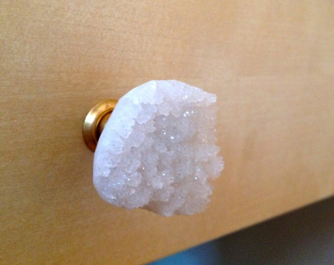 Crystal Quartz Knob--Druzy Quartz Knob--White Crystal Knob--White Geode Knob--Purity