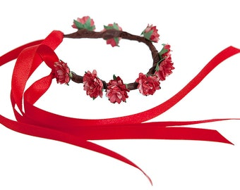Boho Floral Garland for Hair Buns - RED ASTER