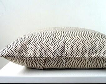 Black and White Chevron Stripes Block Print Pillow cover