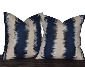 """16"""" Navy and Natural Ikat Stripe Pillow Set - Set of 16 x 16 Inch Neutral Pillow Covers - Khaki and Navy Blue - TWO PILLOW COVERS"""