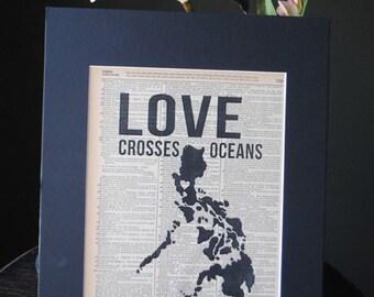 Love Crosses Oceans (Philippines) - Vintage Adoption Word  Art
