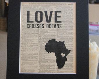 Love Crosses Oceans (Uganda) - Vintage Adoption Word  Art