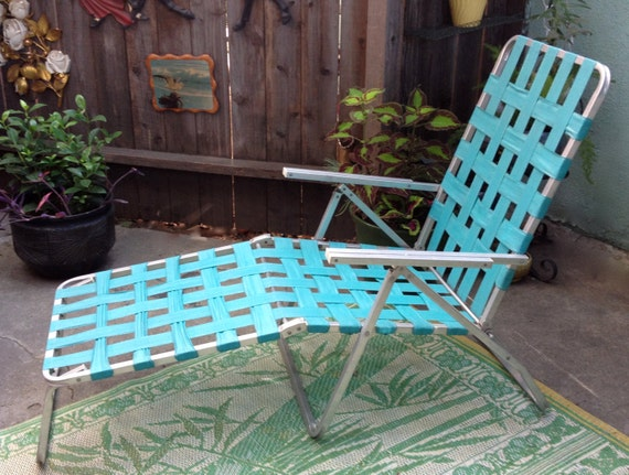 60 s Aluminum Lawn Chair Turquoise Webbed Folding Chaise