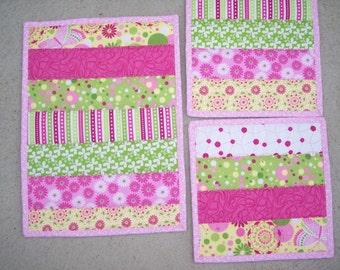 Casserole Hot Pad Set/Pink Green