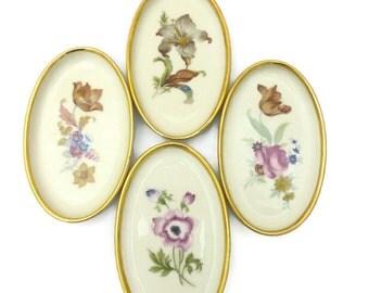 Danmark Porcelain Gold Trimmed Oval Floral Trays Set of 4