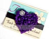 Shabby Heart Headband- Purple, Black Satin Elastic -SHIPS FREE!
