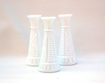 Milk Glass bud vases Set of 3 vintage shabby chic french country wedding shower party decor instant collection