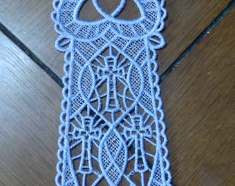 Embroidered Bookmark  - 3  Crosses - Lavender