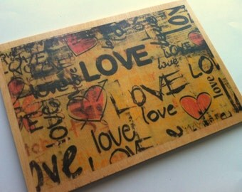 Love  Wood printing.
