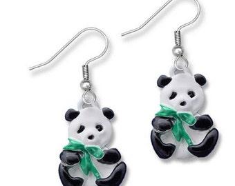 Enamel Hand Painted Panda Earrings
