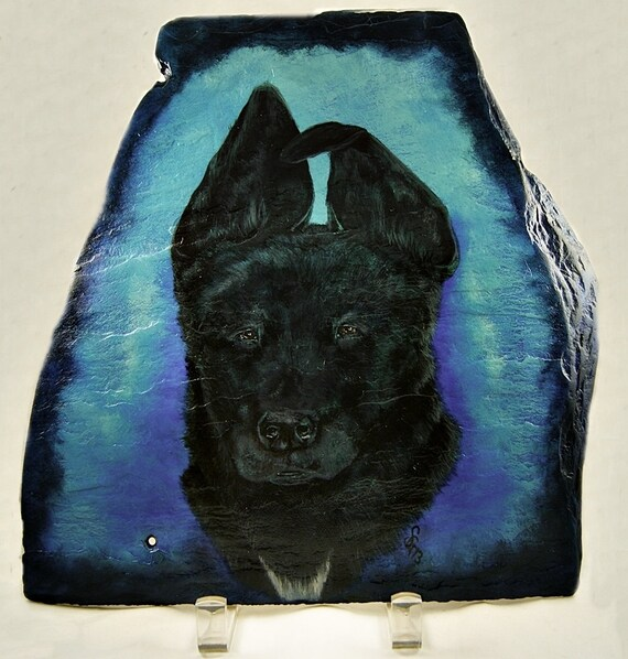 Custom Pet Painting in Acrylics on Irregular Slate, Part of Sales Proceeds Supports Animal Charity